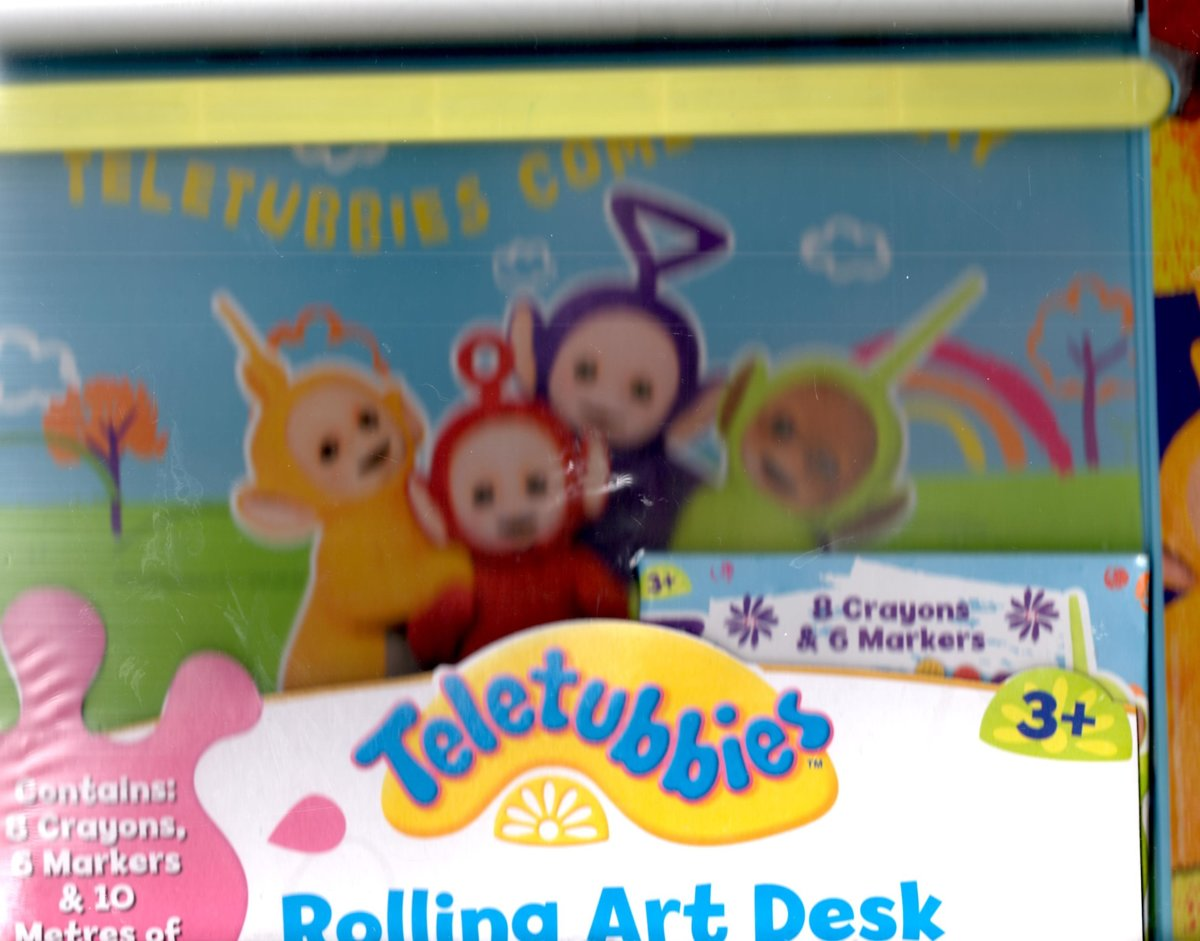 Teletubbies Rolling Art Desk with crayons etc