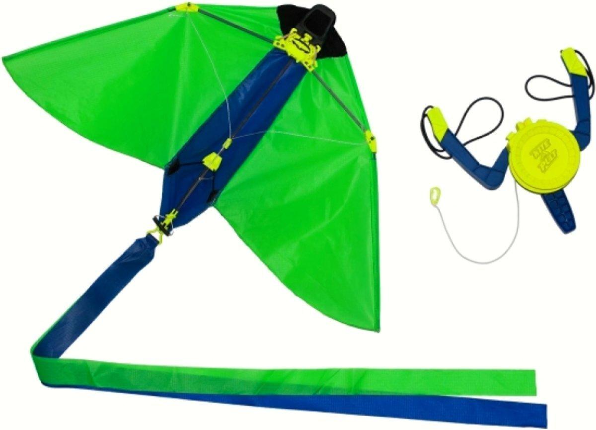 2 stuks vlieger 25x41cm uit katapult groen en oranje