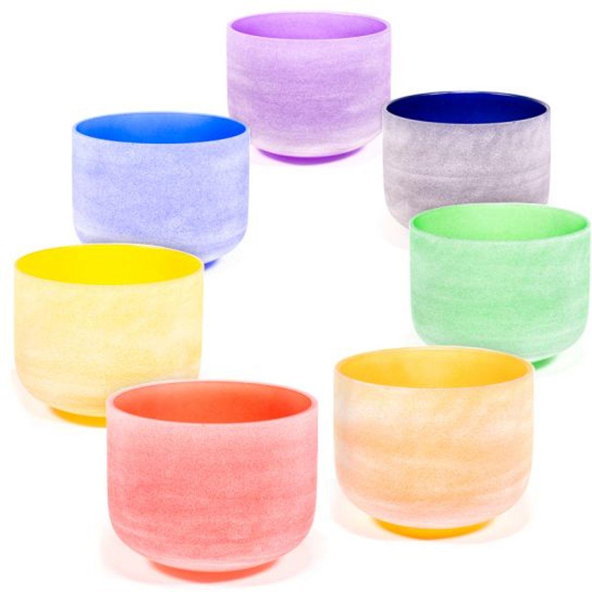 Kristallen klankschalen Chakrakleuren SET + tassen (30 cm) kopen