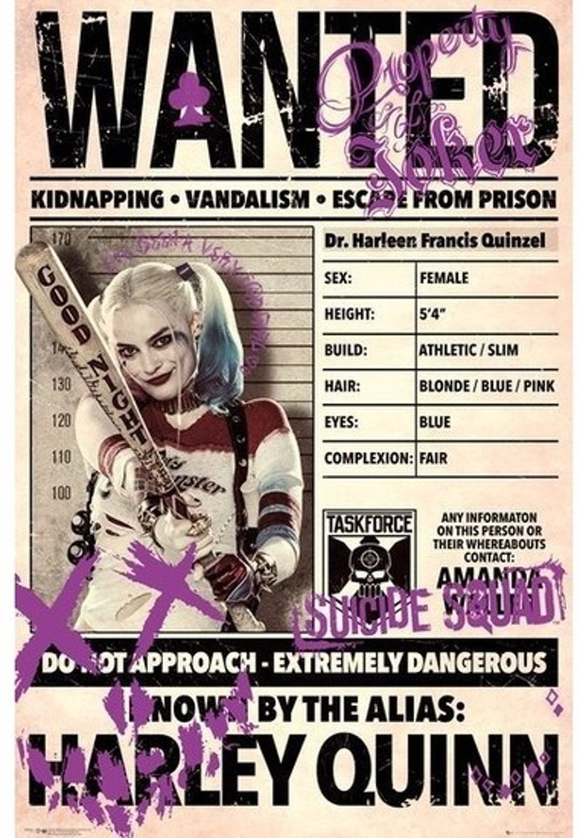 Filmposter Suicide Squad Harley Quinn Wanted 61 x 91 cm kopen