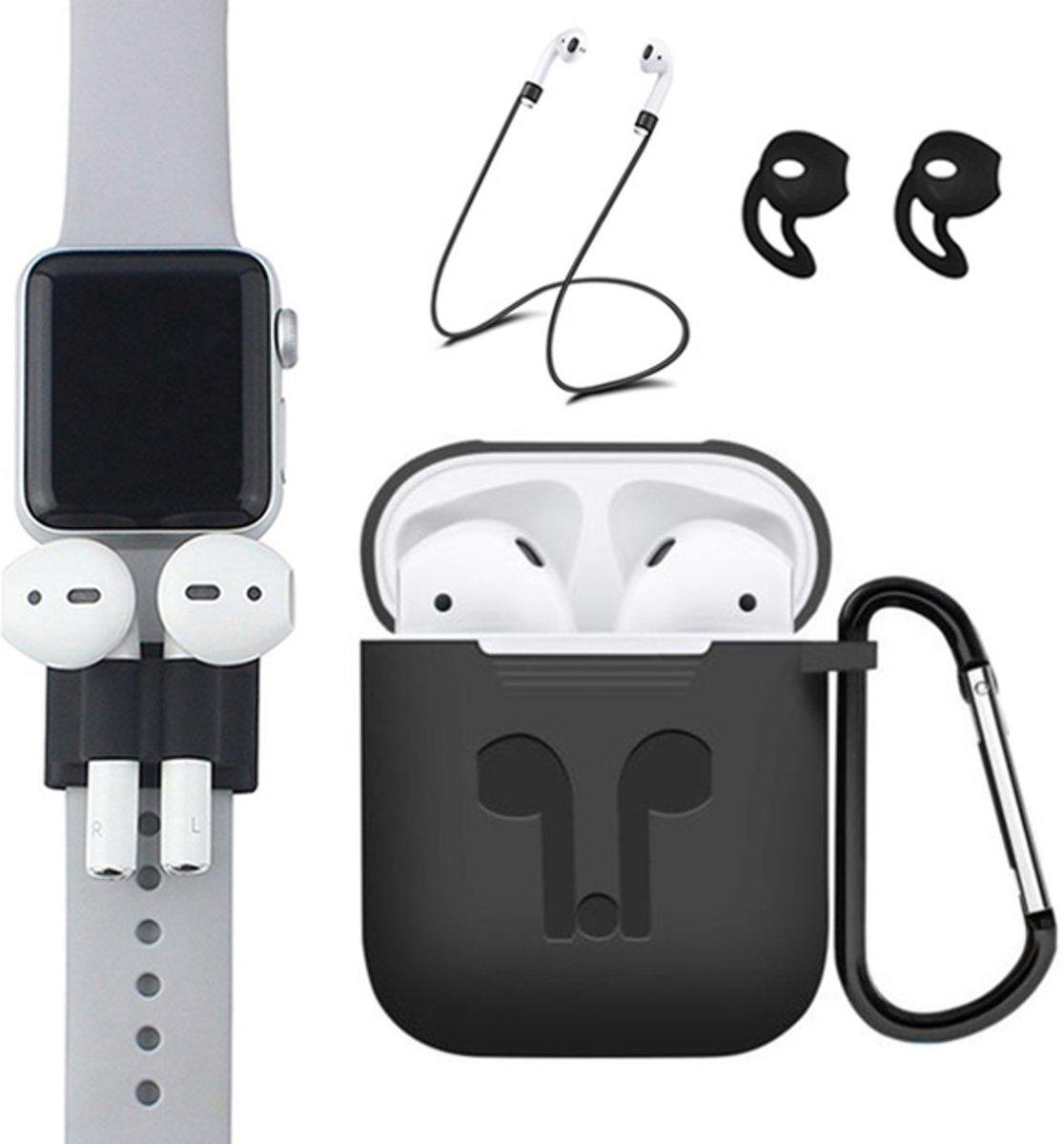 5 in 1 siliconen hoesje met Anti-lost strap en houder - Earhooks - Haak - Zwart Case - geschikt voor Apple Airpods kopen