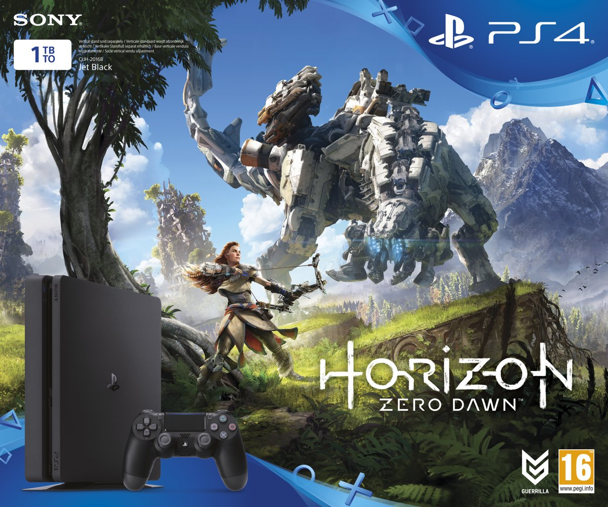 Sony PlayStation 4 Slim console 1 TB + 1 Wireless Dualshock 4 Controller + Horizon Zero Dawn + 3 maanden PS Plus