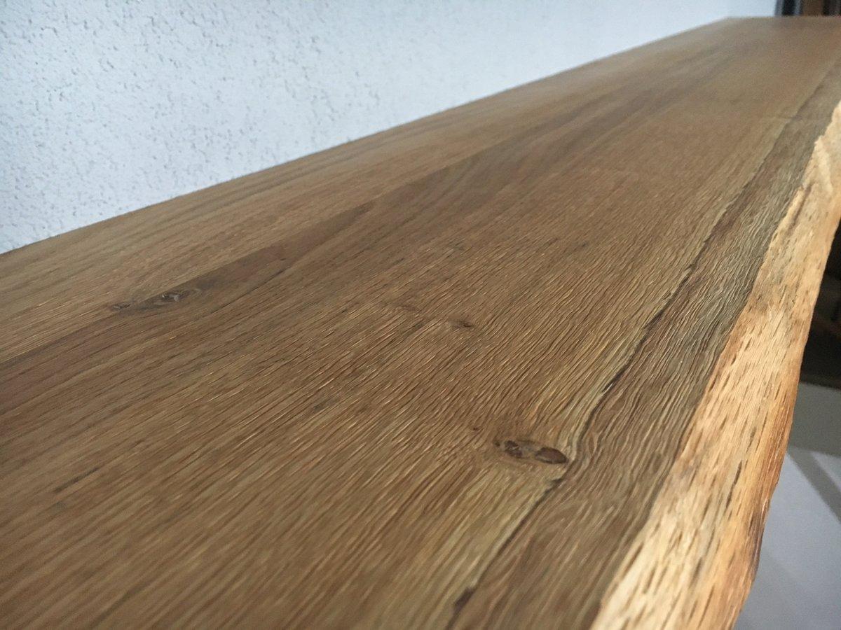 Bol zwevende houten wandplank massief eiken boomstam cm