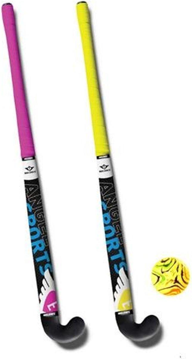 Angel Sports Hockeyset 3-delig Roze/geel 33 Inch kopen