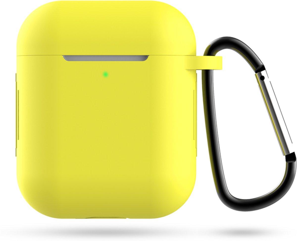 Siliconen Case Voor Apple AirPods  -  Hoesje Met Haak - Airpod Accessoire (Donker Oranje) kopen