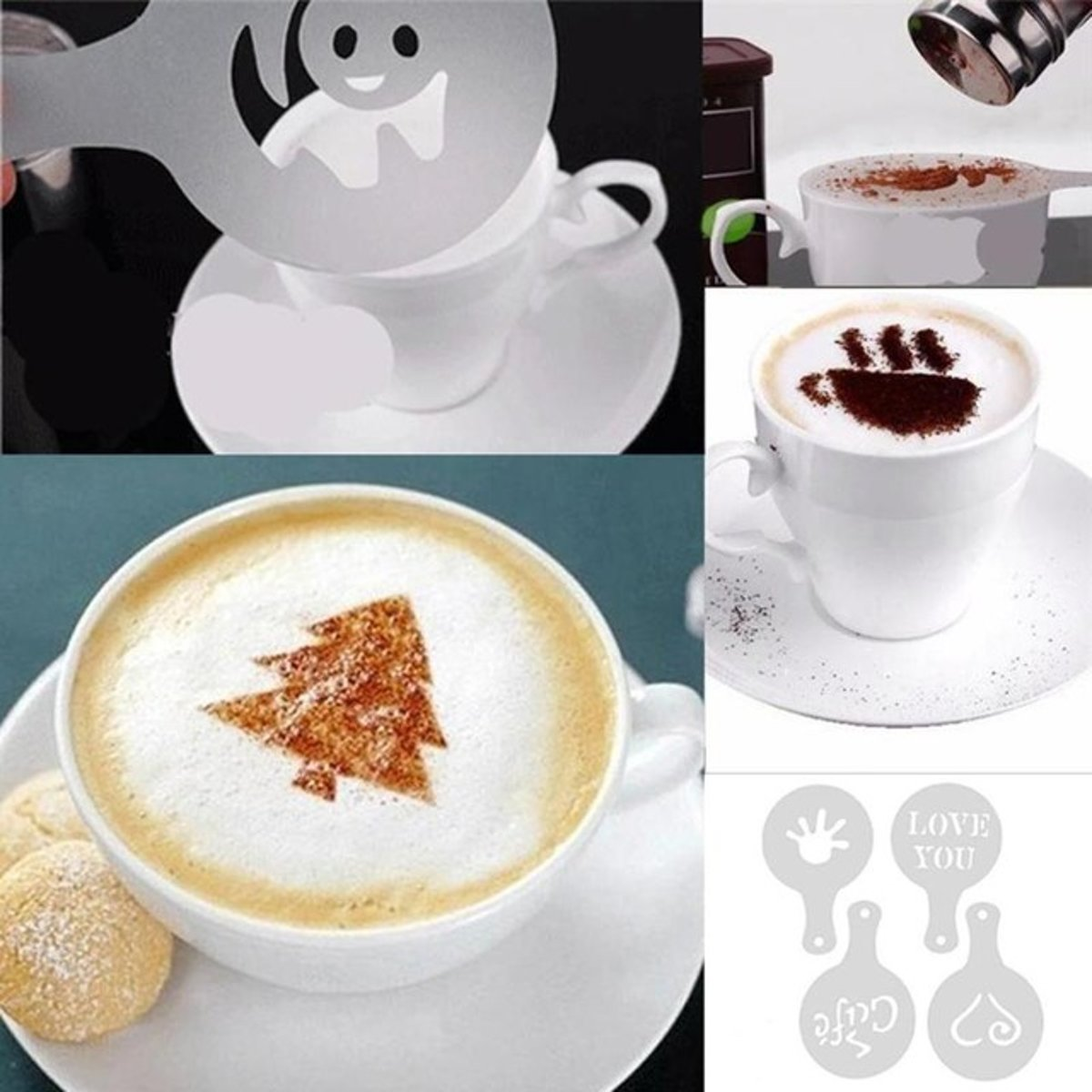 Vormpjes voor koffiefiguurtjes – Maak gemakkelijk tekeningen in de koffie – Set van 16 verschillende motieven kopen