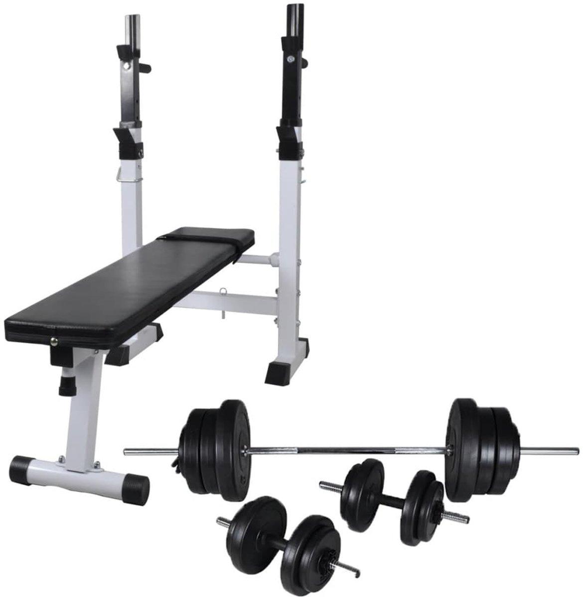 vidaXL Trainingsbank met gewichtenrek en halterset 60.5 kg kopen