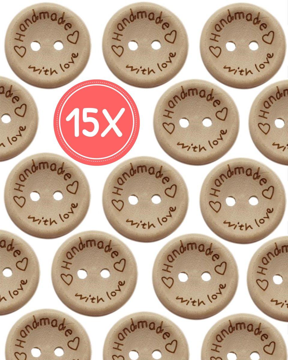 Knopen - 15 stuks - 10 mm - Handmade with love - Houten knopen – Houten knoop kopen