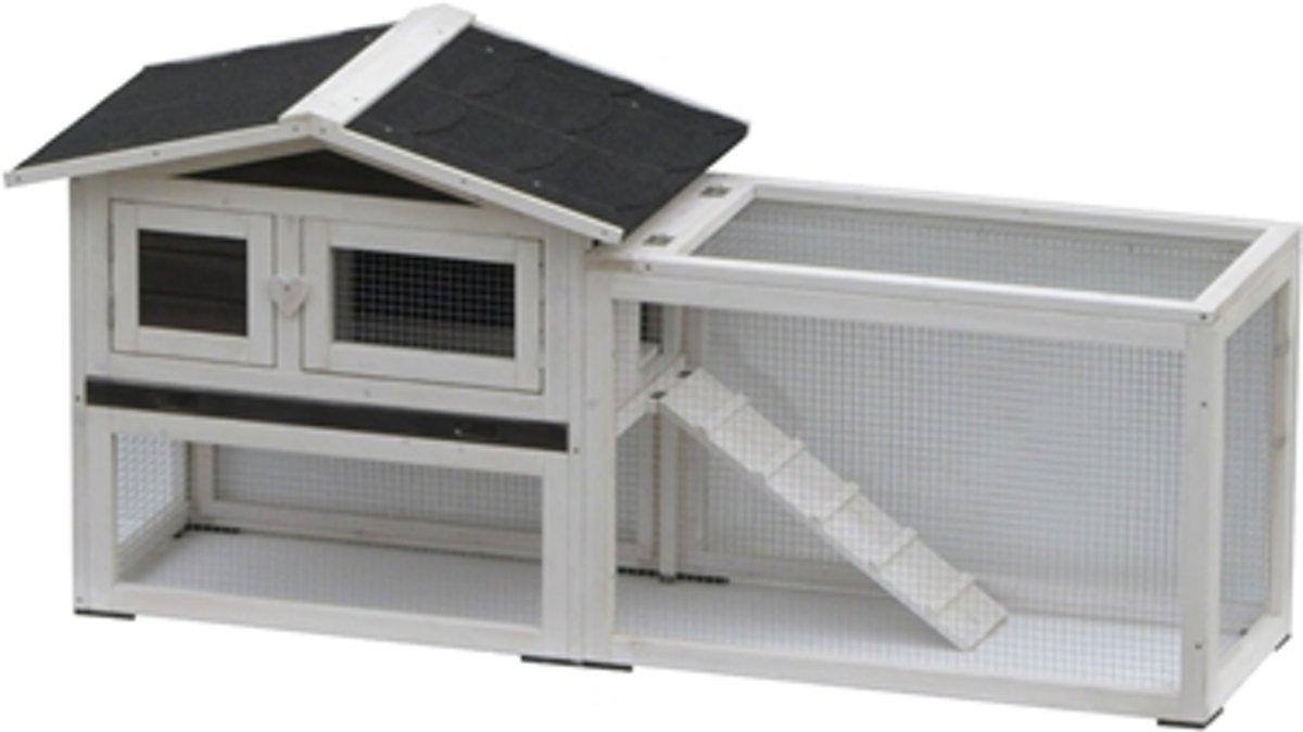 Konijnenhok Manou - 155 x 53 x 70 cm - Zwart/Wit kopen
