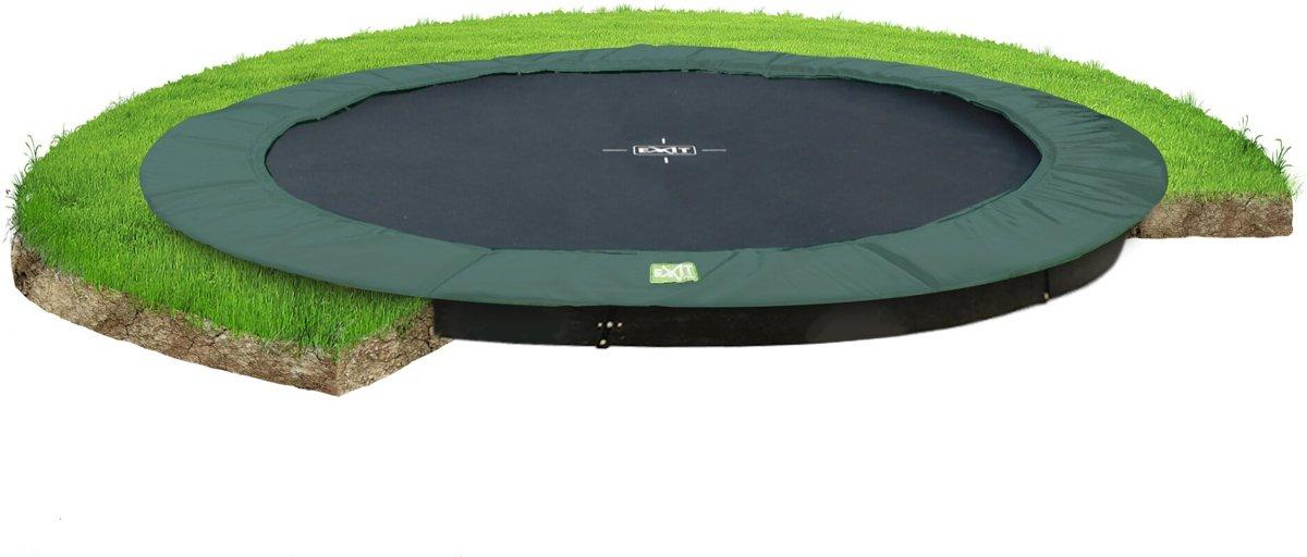 EXIT InTerra groundlevel trampoline ø427cm - groen