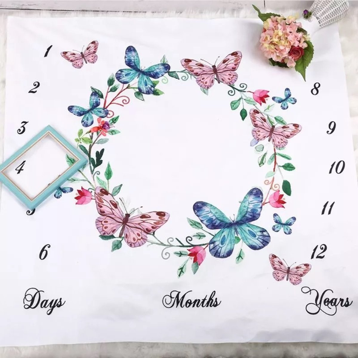 Milestone deken vlinders  - Mijlpaaldeken - fotoherinnering - kraamcadeau - babyshower cadeau - foto mijlpaal deken