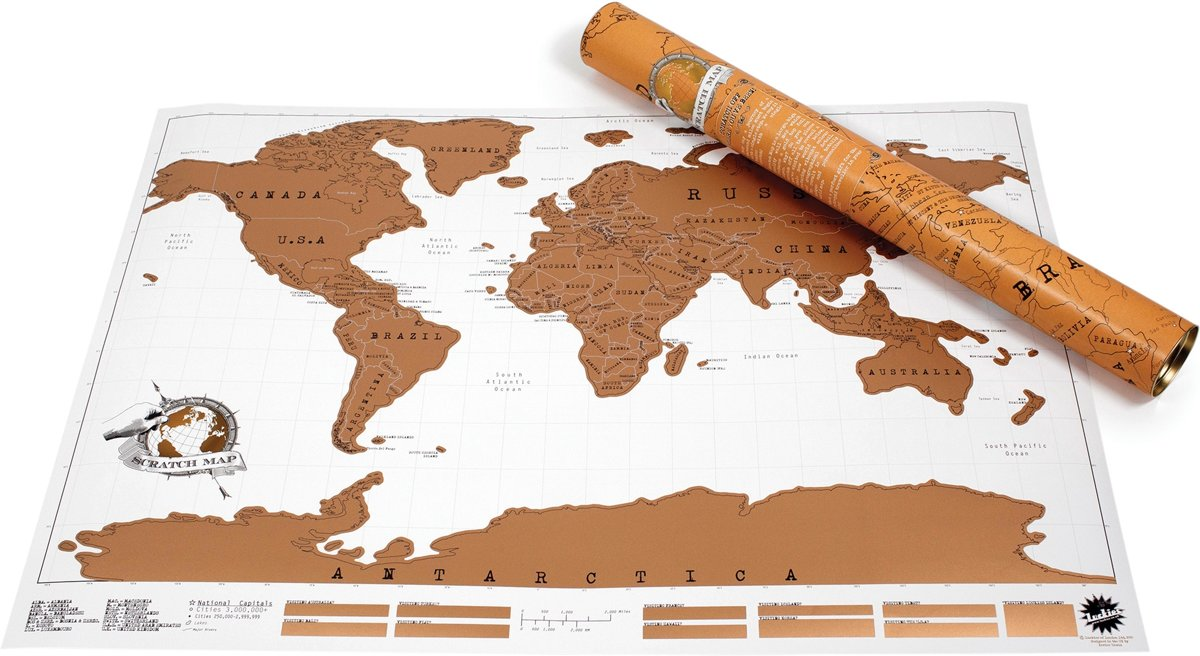 Luckies Kras Wereldkaart - Scratch Map - Kraskaart / Krasmap kopen