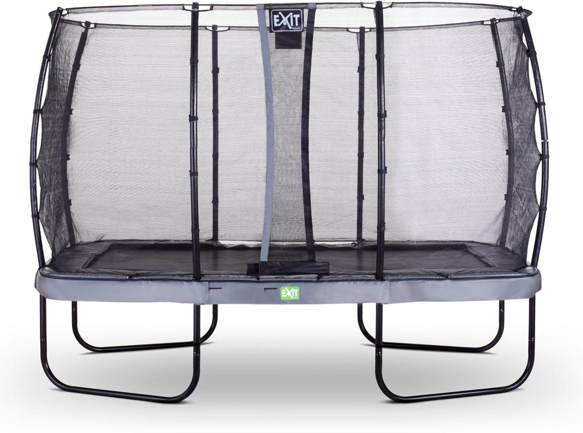 EXIT Elegant Premium trampoline 244x427cm met veiligheidsnet Deluxe - grijs