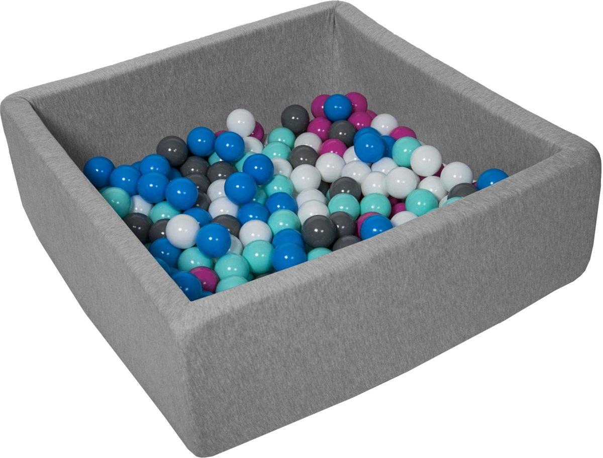 Zachte Jersey baby kinderen Ballenbak met 150 ballen, 90x90 cm - wit, blauw, roze, grijs, turkoois