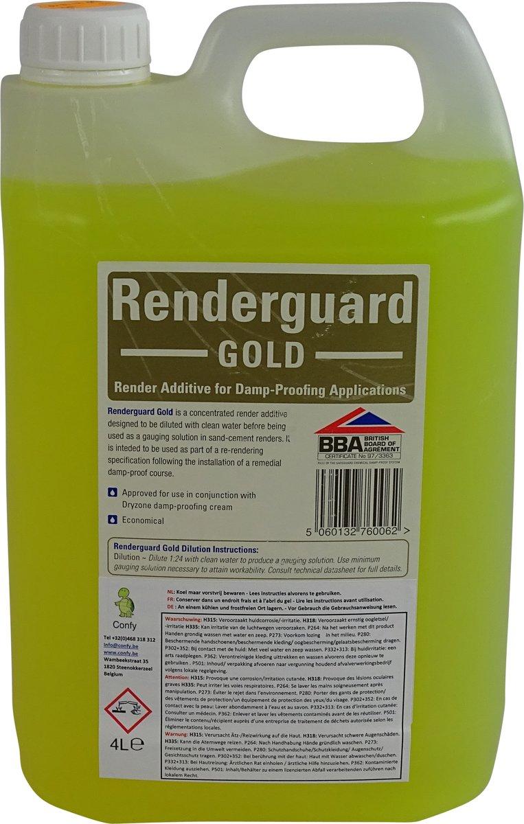 RENDERGUARD GOLD 4L. maakt mortel en beton waterdicht en zout-reducerend kopen