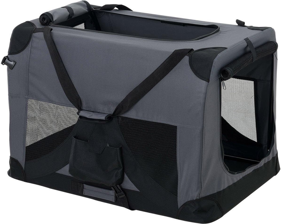[pro.tec]® Dieren transportbox - reismand - grijs - L