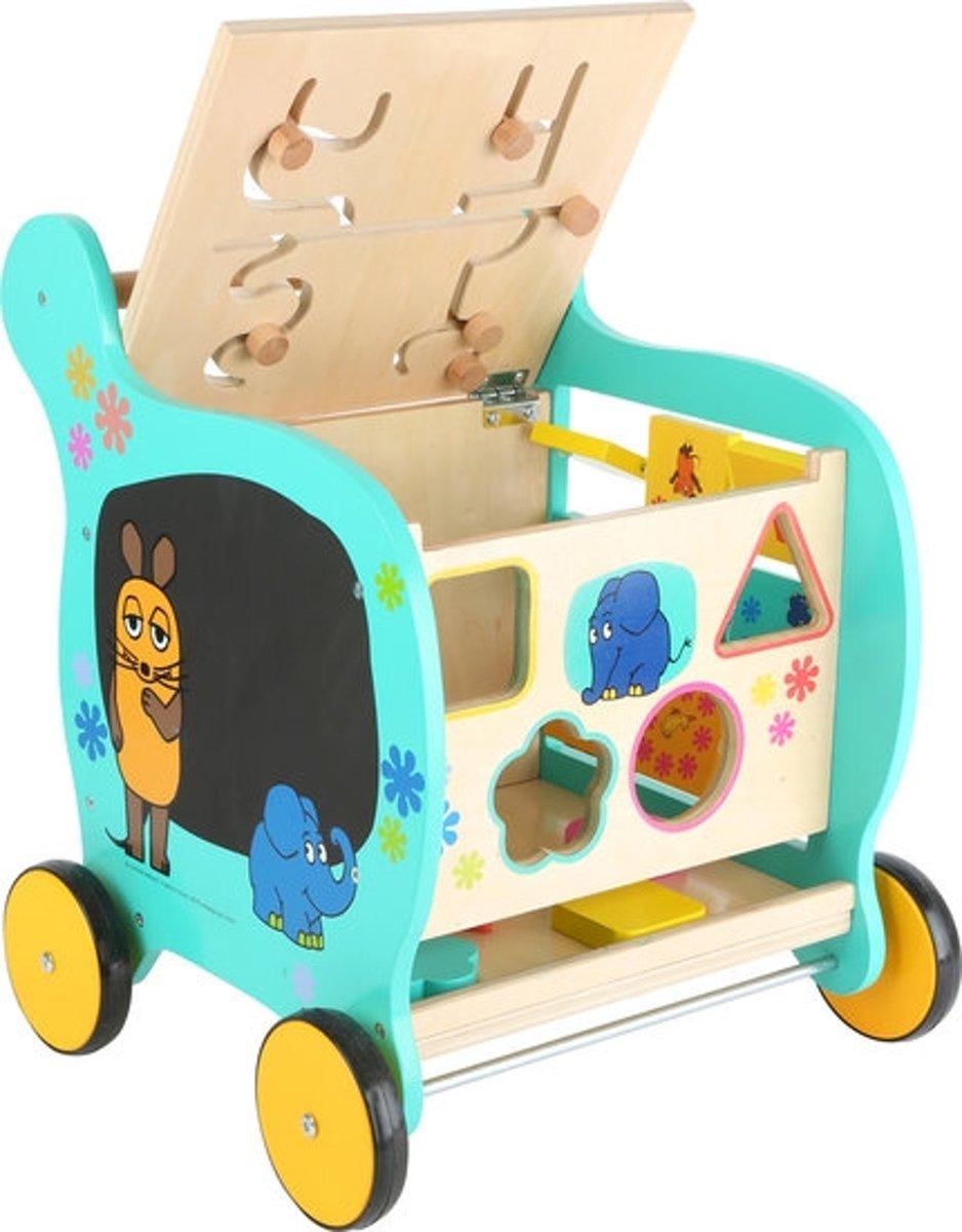 Loopwagen hout met activiteiten (baby walker) - Olifant en de muis - Houten speelgoed vanaf 1 jaar