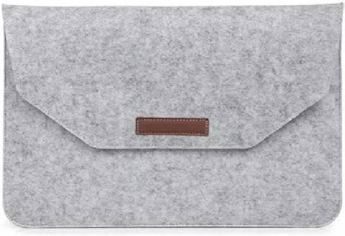 Macbook 13.3 inch laptop Flip Case van Wolvilt  - Universeel laptoptas Grijs kopen