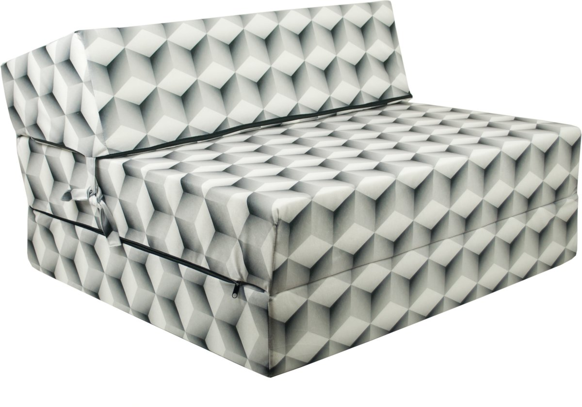 Design logeermatras - kubus - camping matras - reismatras - opvouwbaar matras - 200 x 90 x 15 - sofa