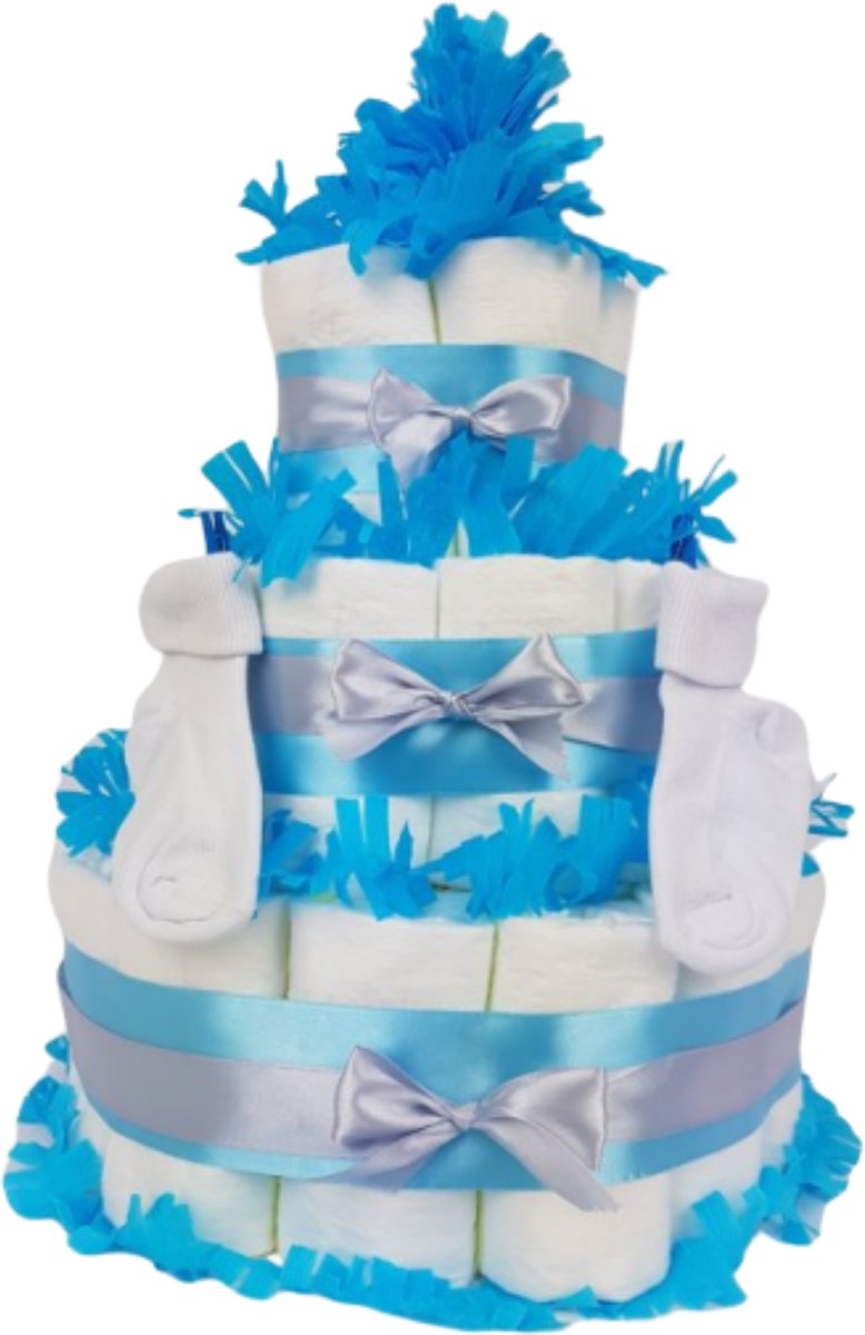 Luiertaart jongen 3-laags blauw | 45 A-merk Pampers | schattige sokjes | XL geboortekaart | ideaal voor babyshower, kraamcadeau en Baby cadeau