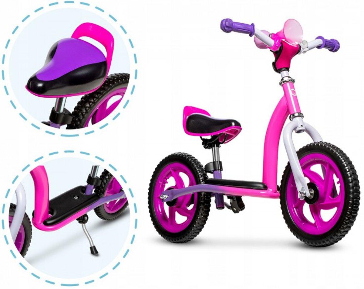 Lionelo Roy -2 in 1 loopfiets balancebike & Step in leuk design inclusief helm -roze