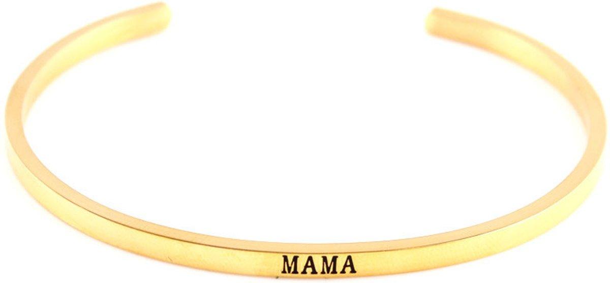 Vergulde bangle armband Mama - sieraad geschenk mama - verjaardagscadeau moeder - cadeau mama kopen