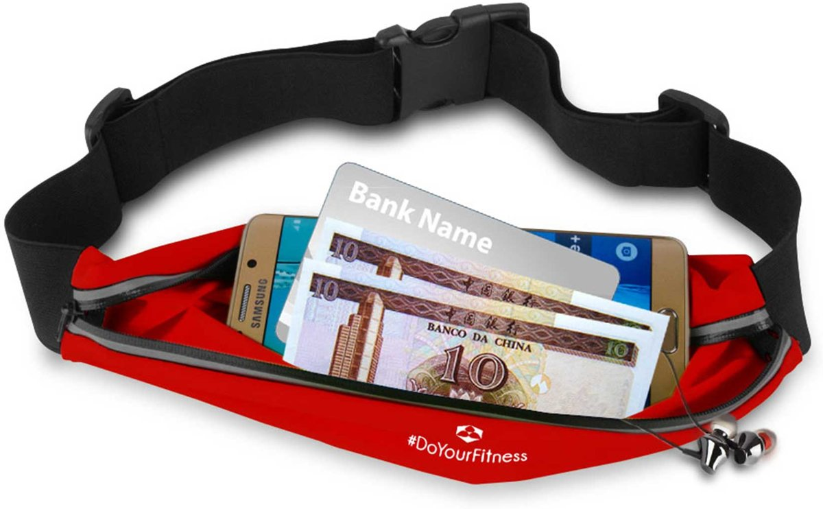 #DoYourFitness - Loopriem - »FunRunner« - heuptas / ritszak voor hardlopen ,elastisch, waterdicht - mobiele telefoon tot ca. 5,5 inch - rood kopen