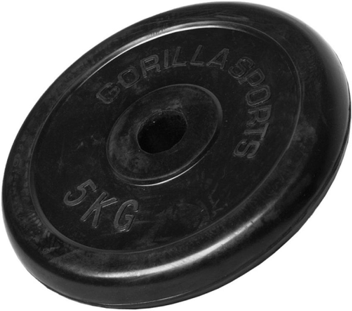 Gorilla Sports Halterschijf 5 kg - Natuurlijk Rubber - Doorsnede 22 cm kopen
