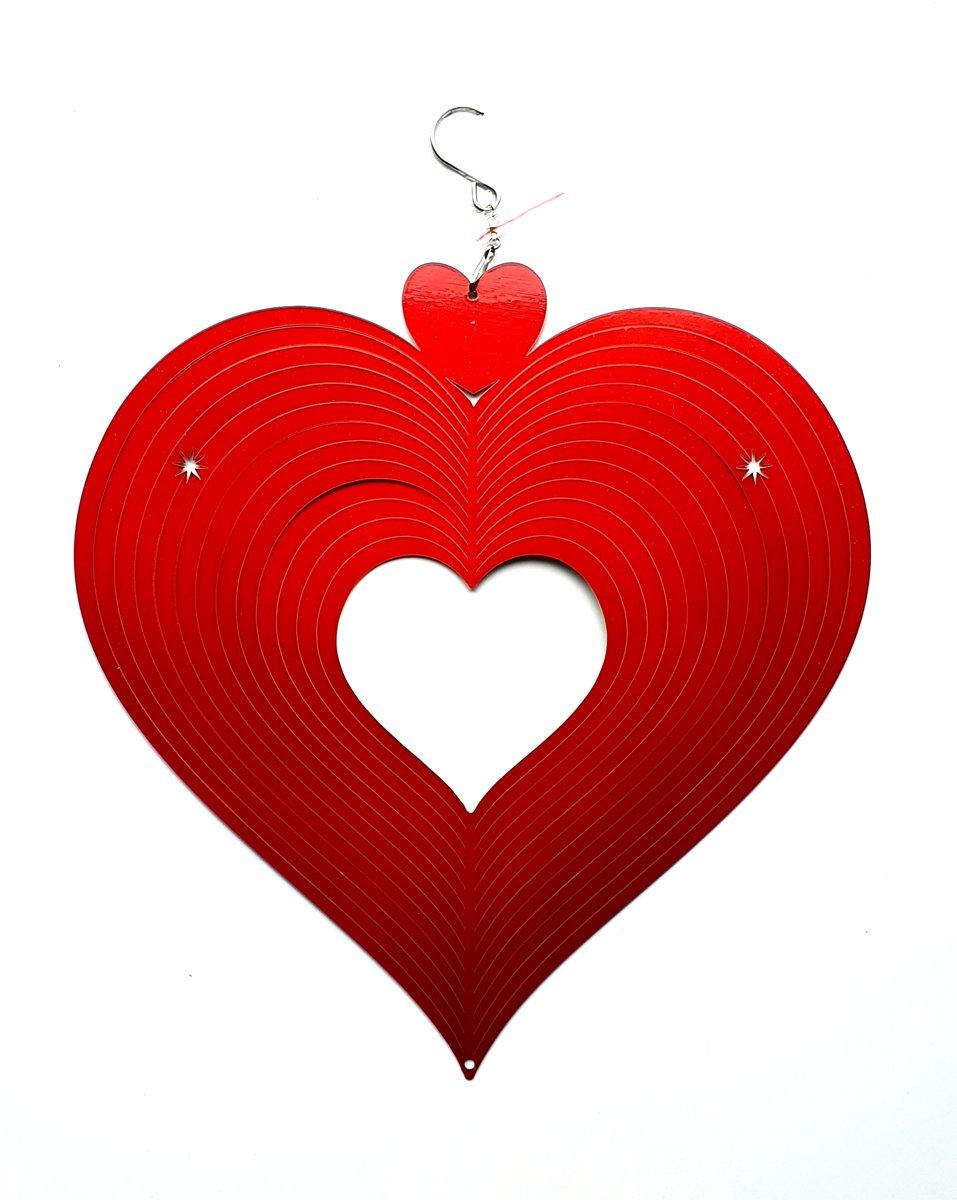 Spin Art windspinner hart RVS - Ø 30 cm - rood