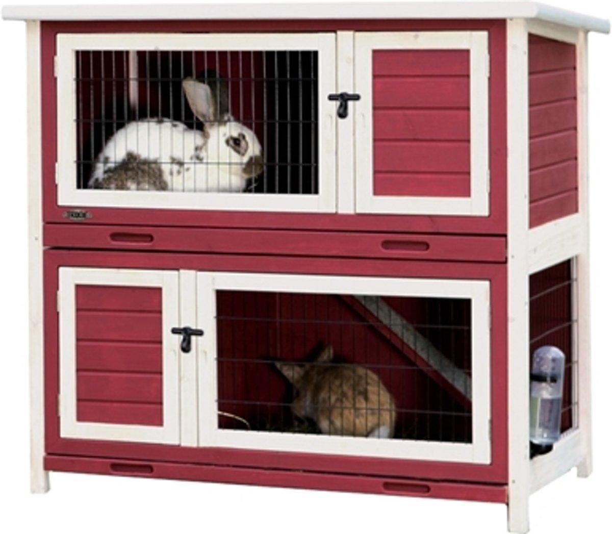 Trixie natura konijnenhok rood / wit 116x111x65 cm kopen