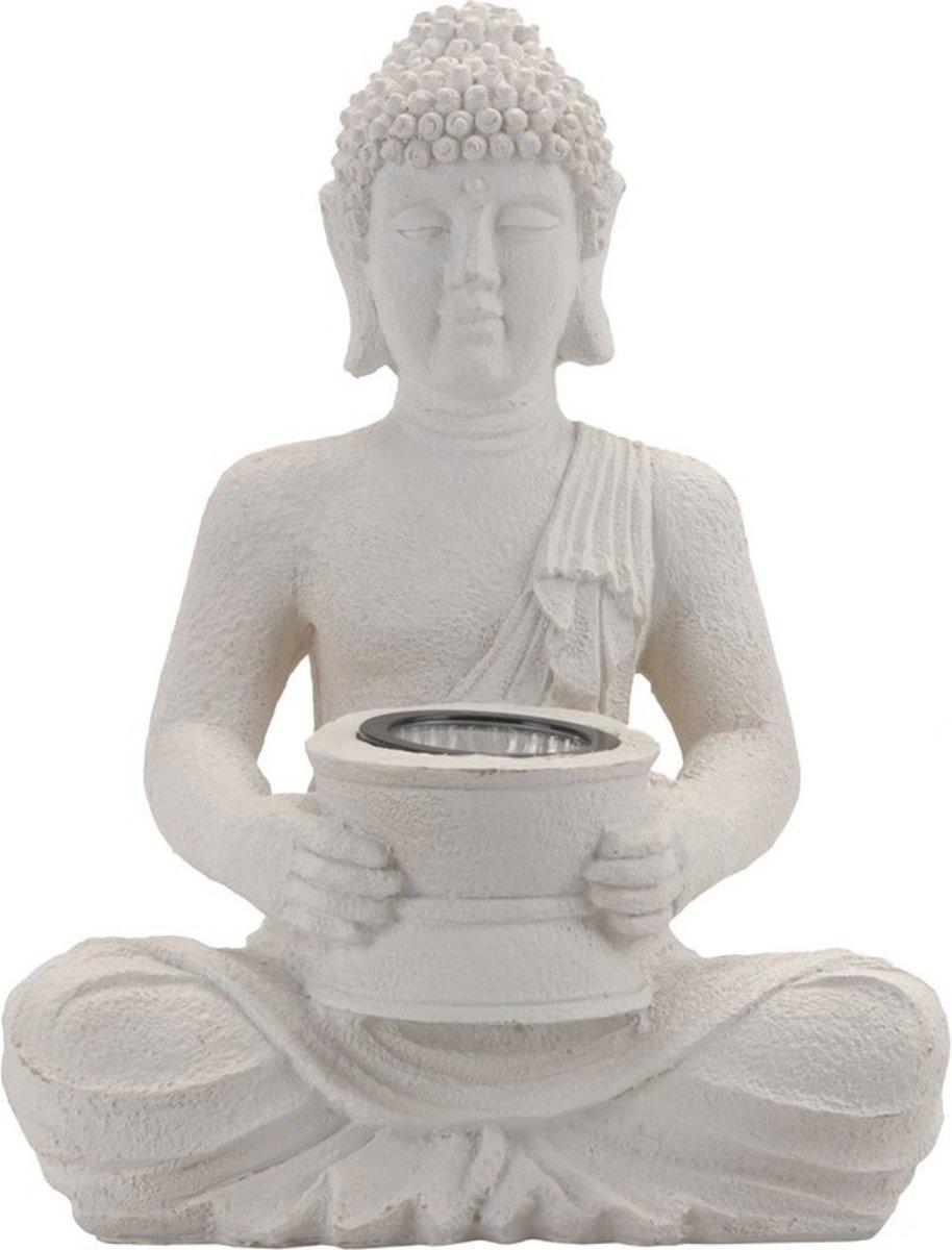 Witte solar Boeddha beeld tuinverlichting 31 cm - Solarverlichting/Tuinverlichting in beelden