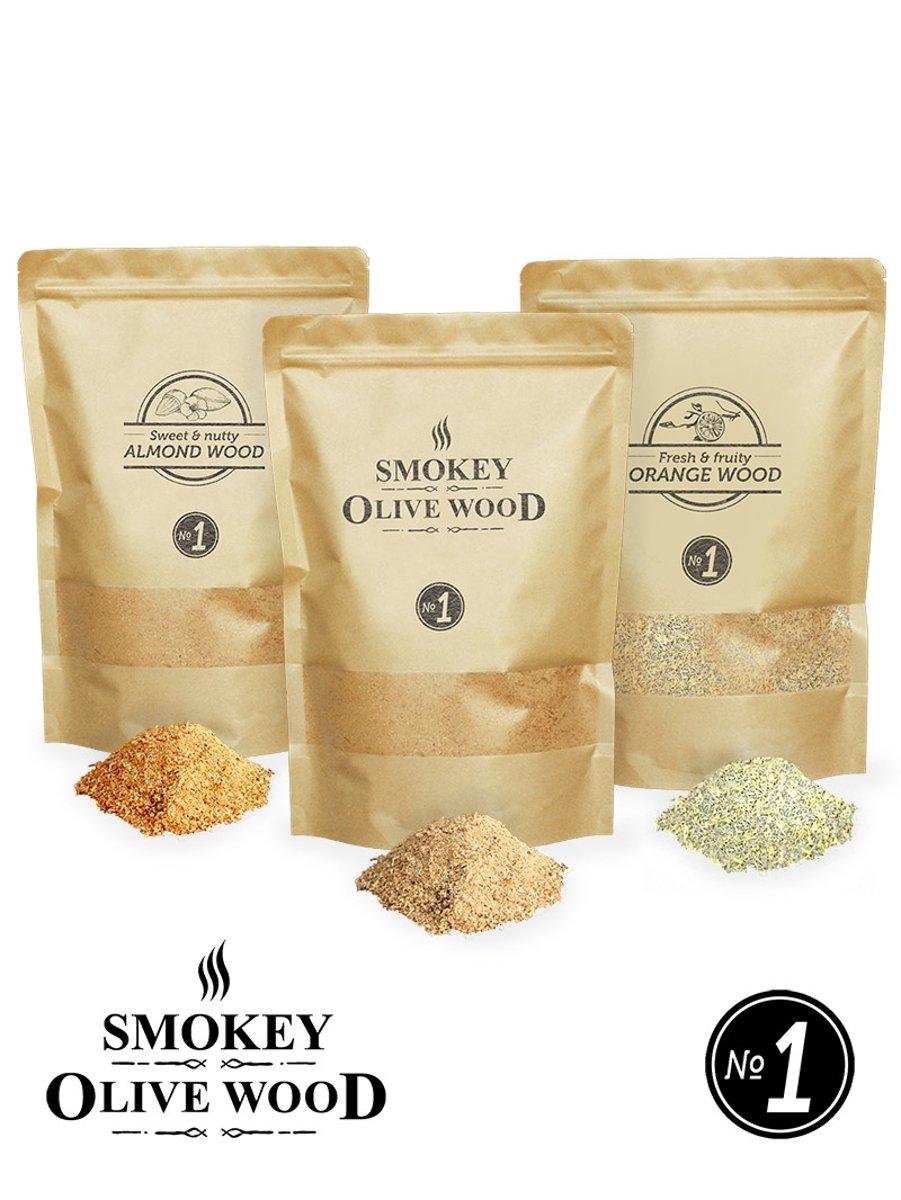 3X Smokey Olive Wood - Rookmot - 1,5L, olijfhout - 1,5L Sinaasappel - Amandel 1,5L - Rookmeel fijn ø 0-1mm kopen