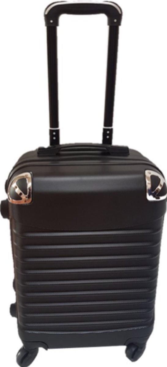 reiskoffer Travelsuitcase. zwart 65cm | 69Liter Zilveren stoothoek kopen