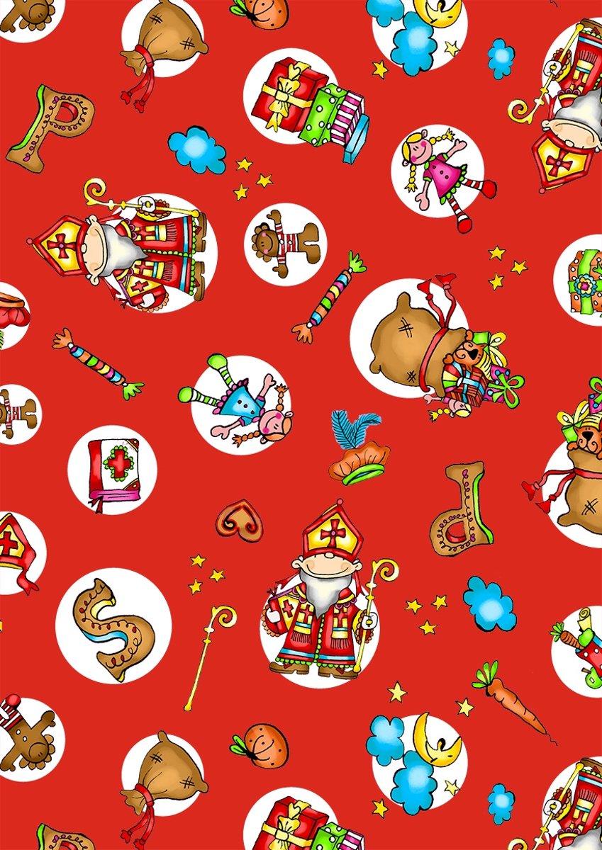 Sinterklaas Cadeaupapier S691718-2 De zak van Sinterklaas rood-wit - Toonbankrol breedte 50cm - 125mtrm lang kopen