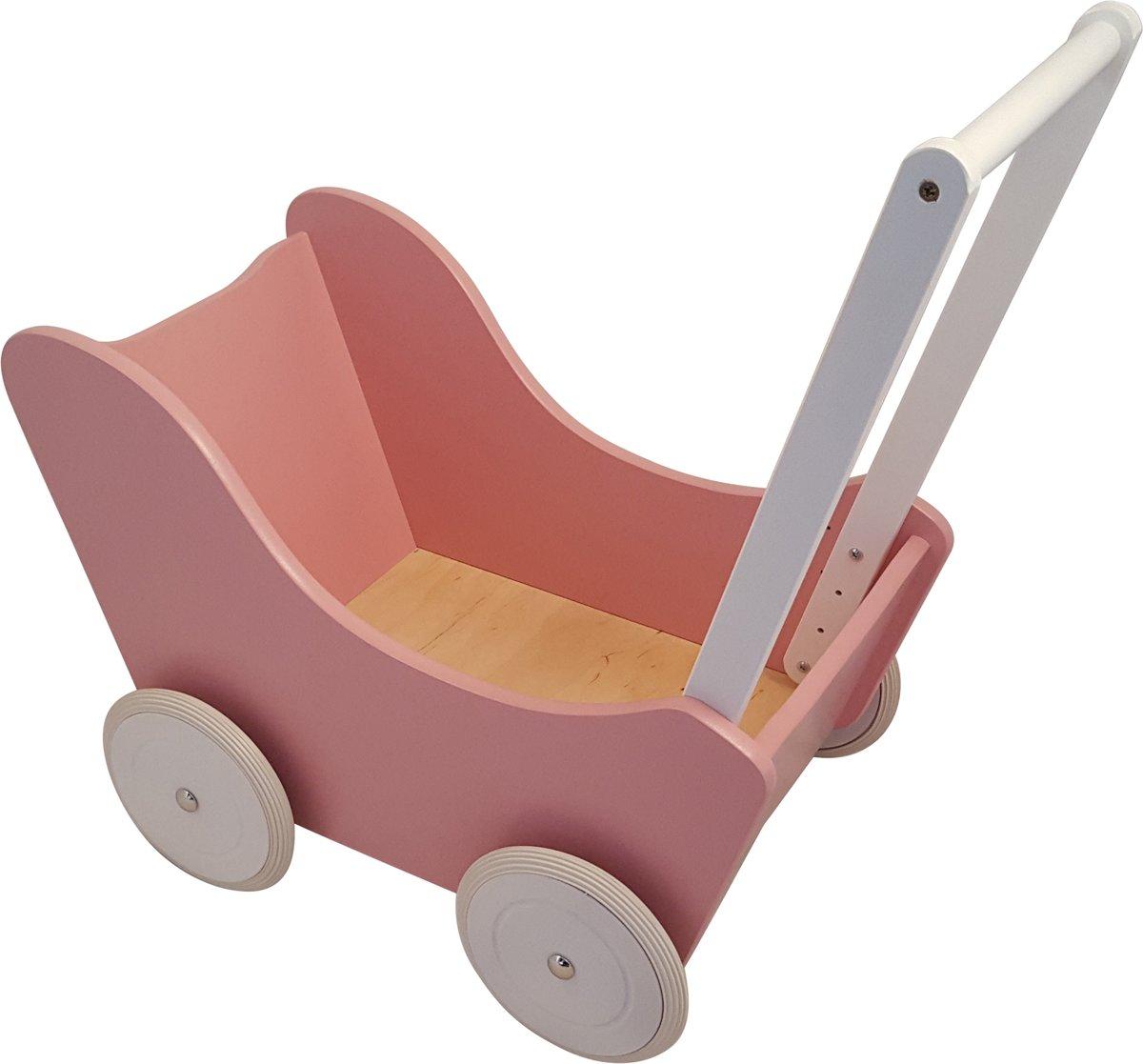Playwood - Houten Poppenwagen roze met witte wielen