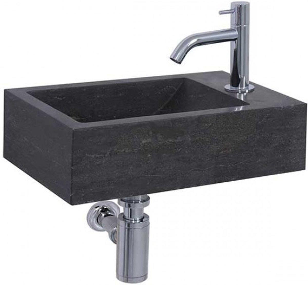 Fonteinset Differnz Furan Rechthoek 40x23x11cm Natuursteen Antraciet Chroom Toiletkraan Sifon Plug kopen
