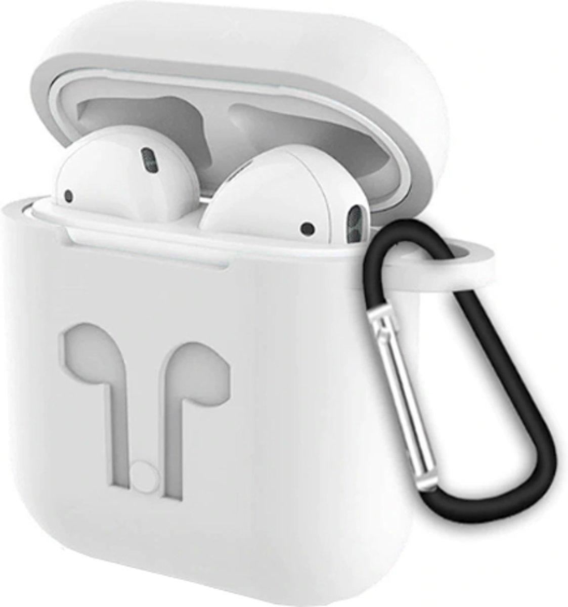 Airpods Hoesje Wit - Siliconen Case Cover voor Apple Airpods - 3 in 1 set met Anti Lost Strap en Haak kopen
