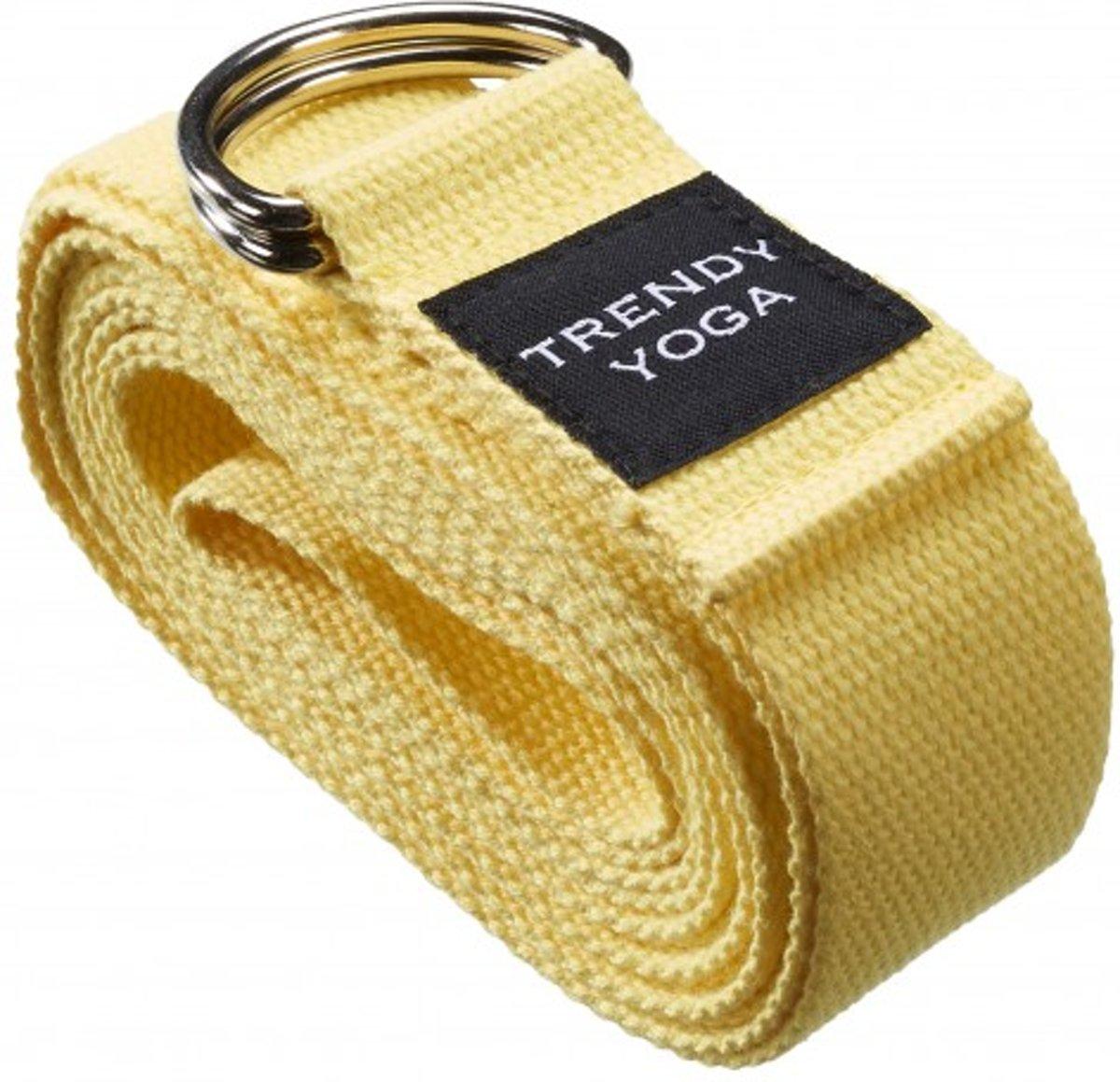 Trendy Sport Yoga riem - Yogariem - Yoga belt - 190 cm lang - 4 cm breed - 2 mm dik - Geel kopen