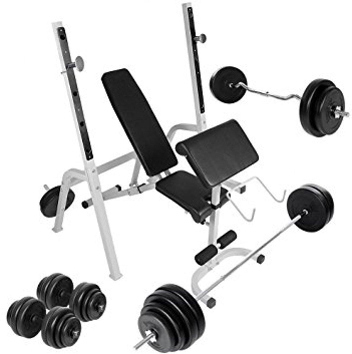 Fitnessbank Biceps Triceps - Halterstandaard - halterstang - Dumbells - Curlstang - Gewichten 109 kG kopen
