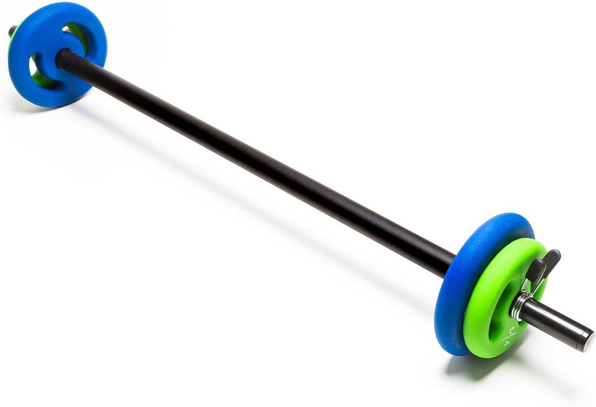 #DoYourFitness - Lange halterstang 117cm met padding - veersluiting - 100% gietijzer - 30/31mm boring - incl. halterschijven 2x2kg / 2x4kg kopen