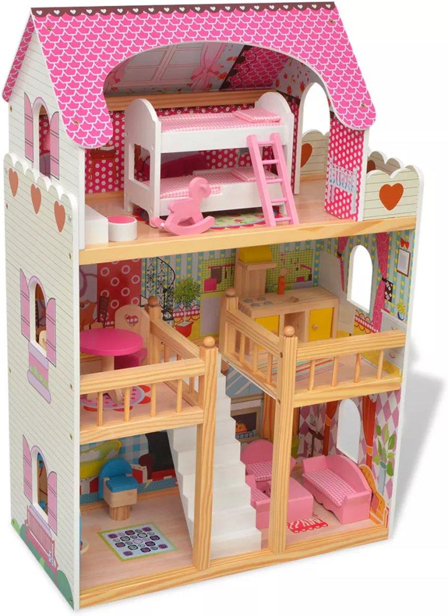 Poppenhuis Barbiehuis Speelgoed 3 verdiepingen inclusief 18 mini meubels 60x30x90 cm hout
