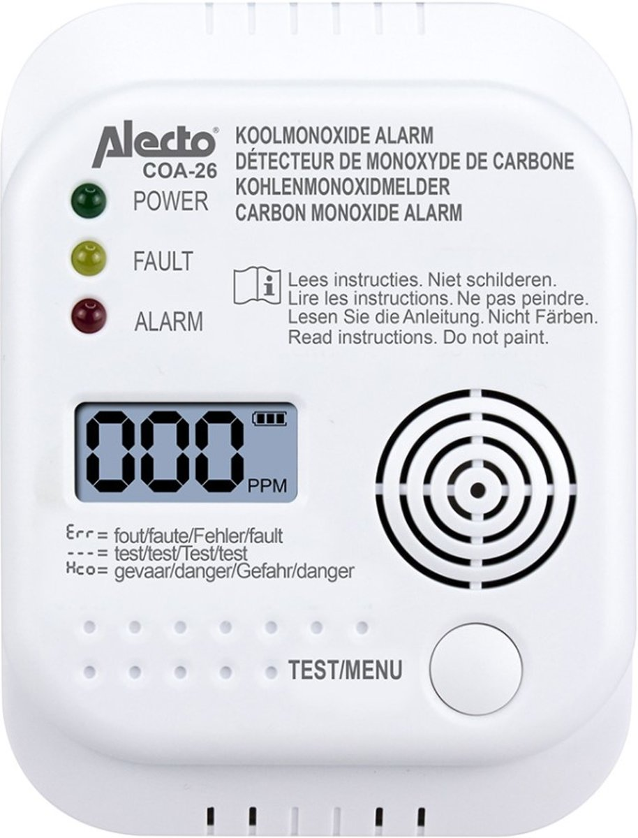 Alecto COA-26 Koolmonoxide melder - 7 jaar sensor - Met display en temperatuurweergave - Testknop - Alecto