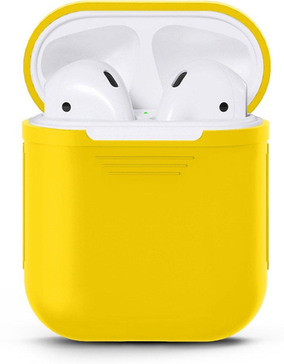 Airpods Silicone Case Cover Hoesje geschikt voor Apple Airpods 1 / 2 - Geel kopen