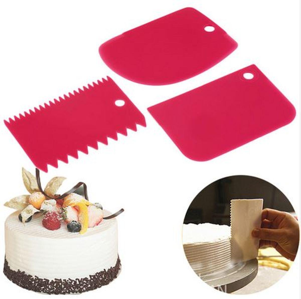 Fondant schraper - Kunststof Schraper voor taart / icing / cake / cupcake decoratie - Spatel - Fondant Snijder - Icing cutter scraper Keuken tool voor Marsepein en Fondant - Set van 3 stuks kopen