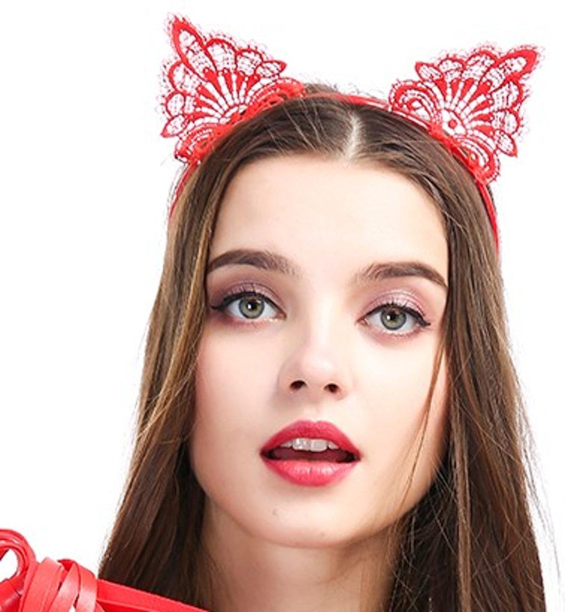Foto van Banoch | motif obscur fantastique - diadeem kattenoren rood