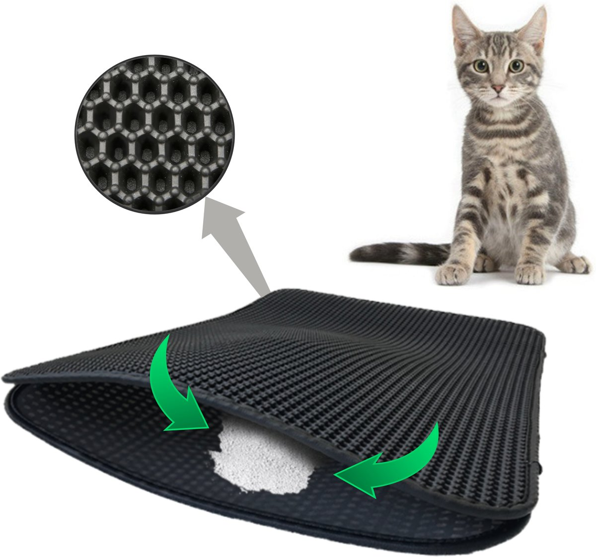 Kattenbakmat - Katten - Dubbele laag kattenbakvulling - Mat trapper - Opvang ruimte - Kattengrit opvanger - Honingraat - waterdicht - Ademend - Zwart - Leren rand -Maat 40 x 50 - Eco-friendly kopen