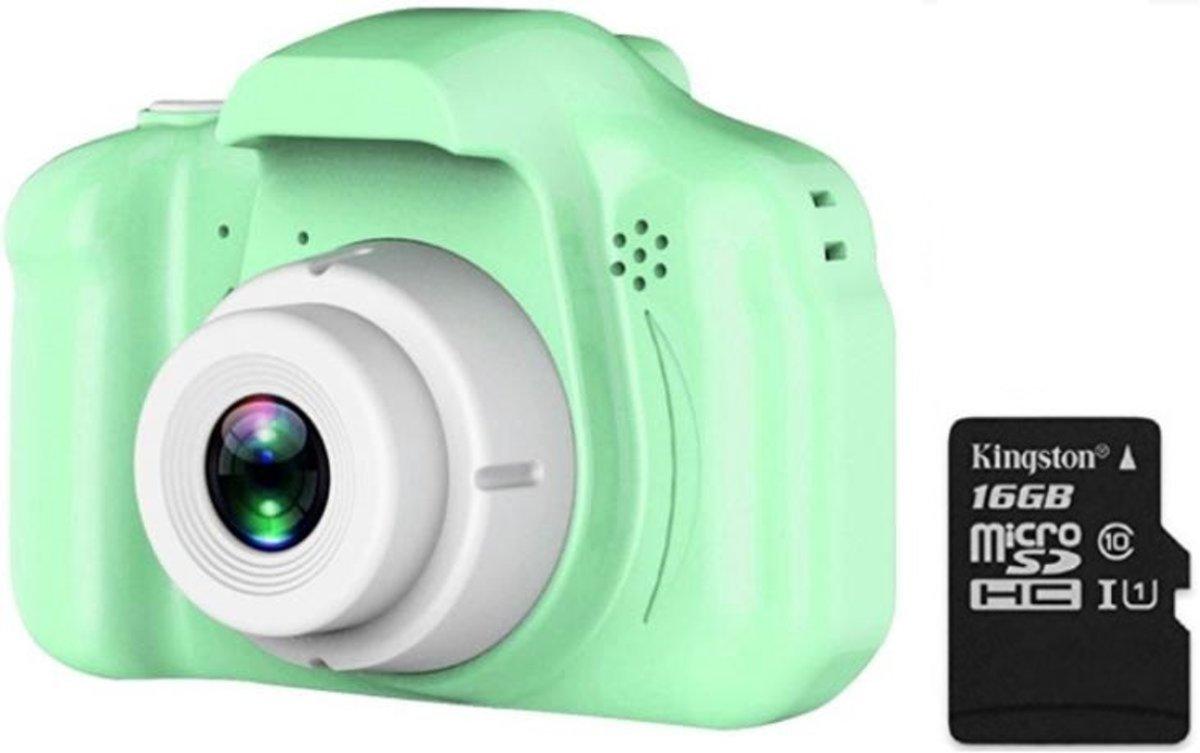 Digitale kindercamera groen / met videofunctie / incl. handig keycord /  incl. Kingston 16GB MicroSD kaart