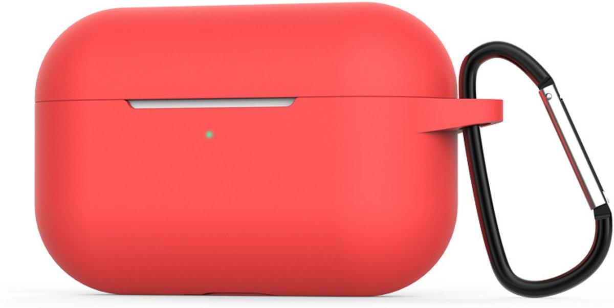 2-in-1 Silicone case beschermhoesje geschikt voor Apple AirPods Pro - Case met gratis karabijnhaak | EarKings - Rood kopen