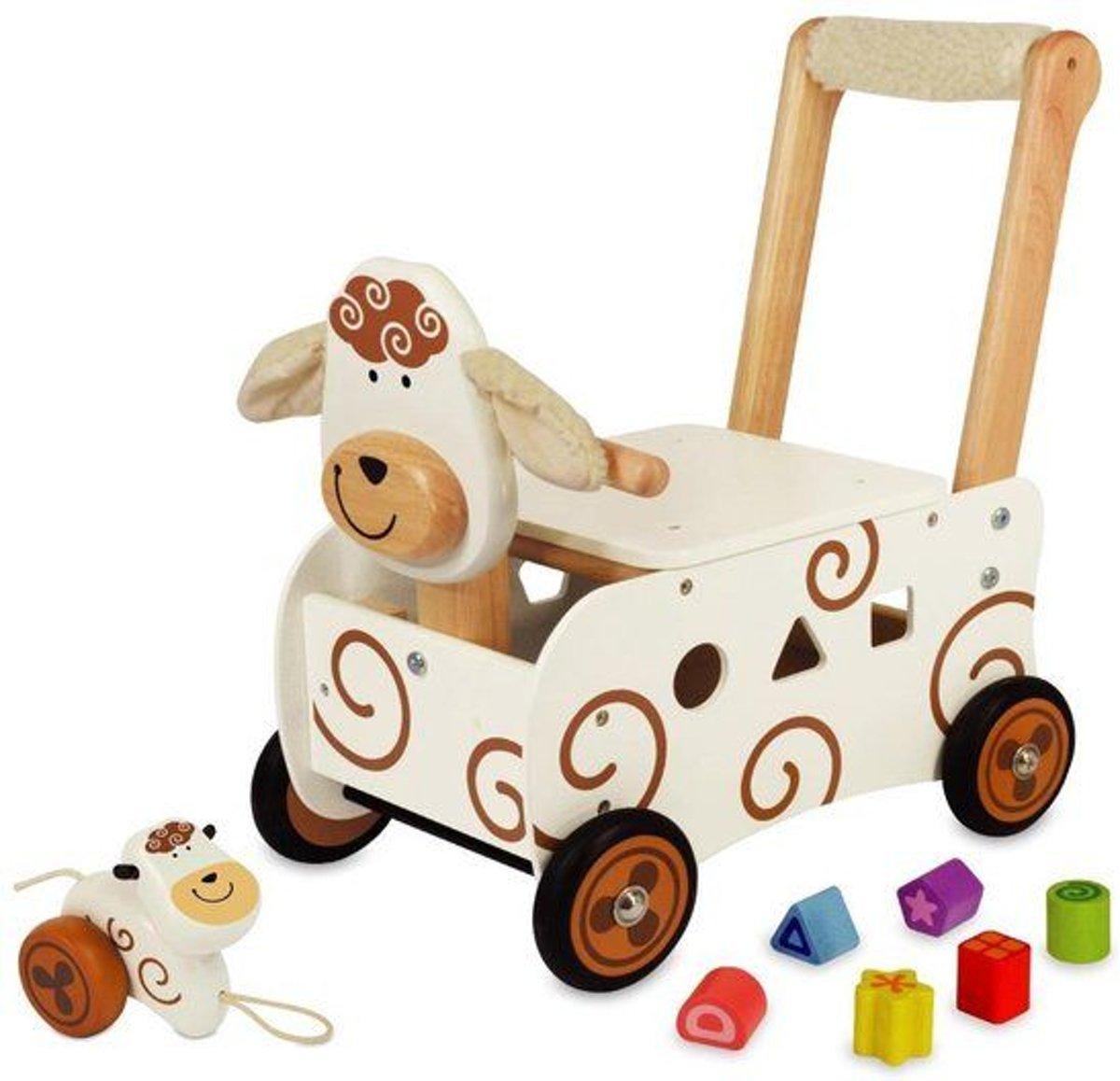I'm Toy Houten loopwagen Schaap met blokken
