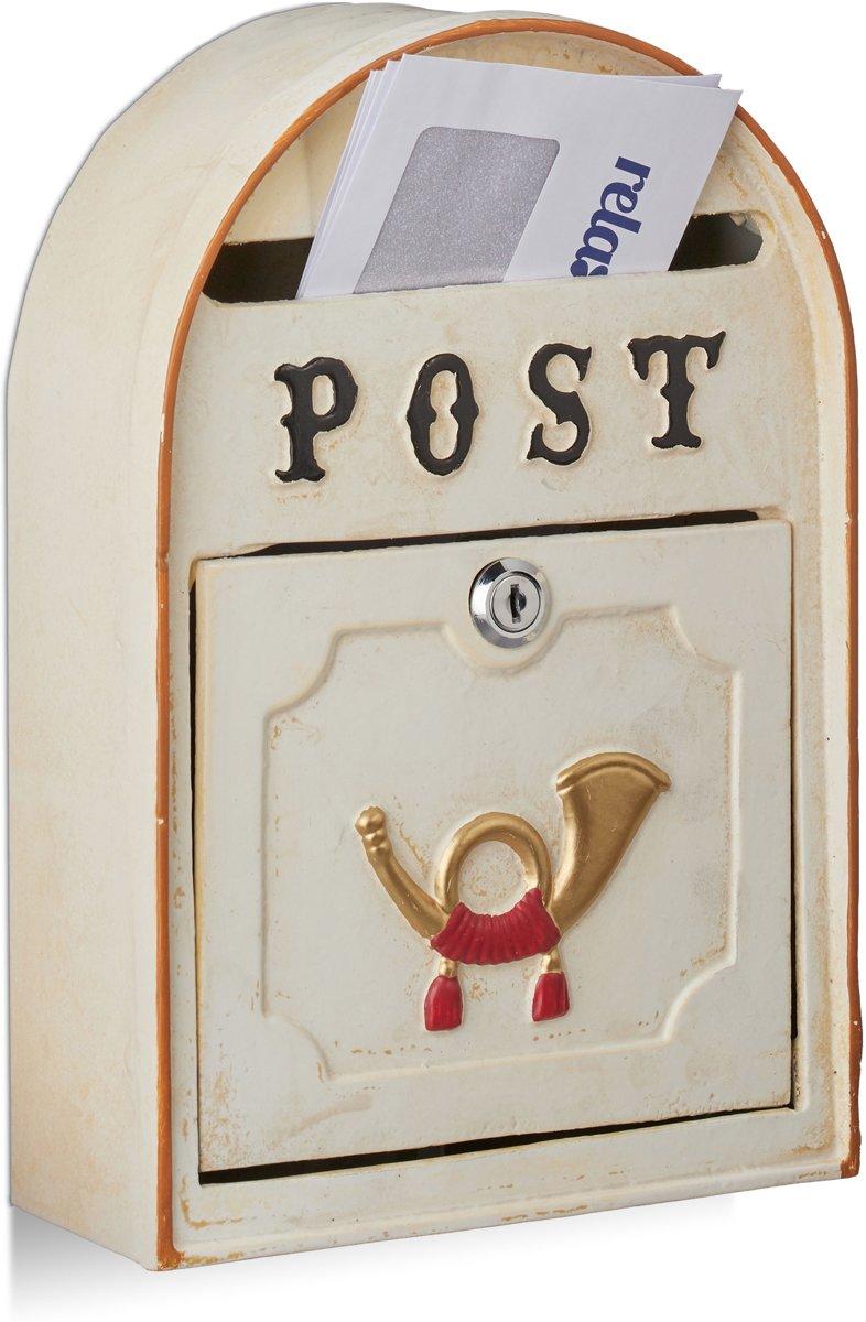 relaxdays brievenbus antieke posthoorn - wandbrievenbus Western stijl - metaal - beige